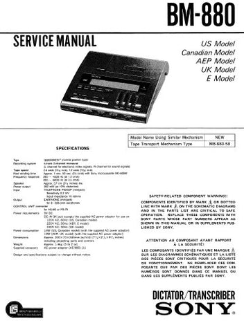 SONY BM-880 MICRO CASSETTE DICTATOR TRANSCRIBER SERVICE MANUAL INC PCBS SCHEM DIAG AND PARTS LIST 44 PAGES ENG