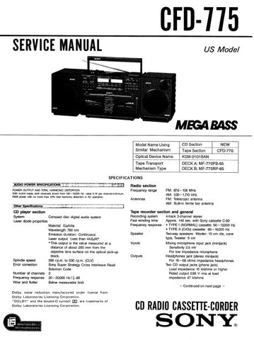 SONY CDF-775 CD RADIO CASSETTE CORDER MEGA BASS SERVICE MANUAL INC BLK DIAG PCBS SCHEM DIAGS AND PARTS LIST 69 PAGES ENG