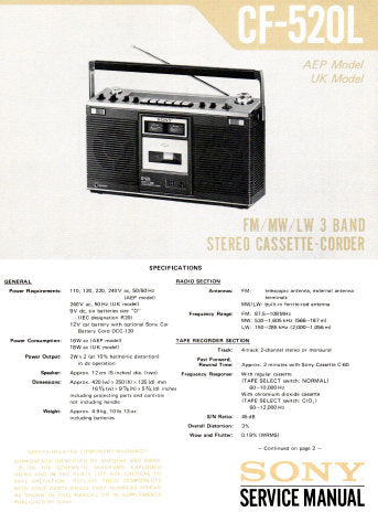 SONY CF-520L FM MW LW 3 BAND STEREO CASSETTE-CORDER STEREO RADIO CASSETTE RECORDER SERVICE MANUAL INC BLK DIAG PCBS SCHEM DIAG AND PARTS LIST 28 PAGES ENG