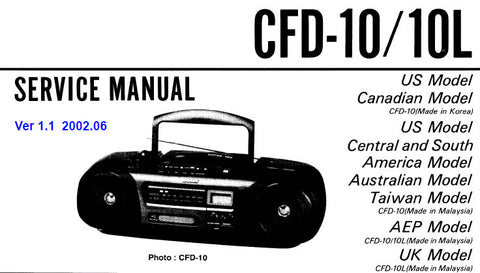 SONY CFD-10 CFD-10L CD RADIO CASSETTE-CORDER CD RADIO CASSETTE RECORDER SERVICE MANUAL INC BLK DIAGS PCBS SCHEM DIAGS AND PARTS LIST 50 PAGES ENG