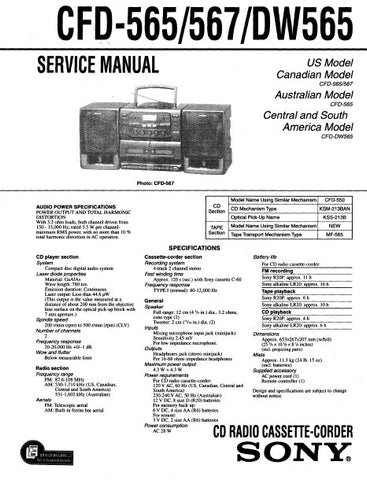 SONY CFD-565 CFD-567 CFD-DW565 CD RADIO CASSETTE CORDER SERVICE MANUAL INC PCBS SCHEM DIAG AND PARTS LIST 54 PAGES ENG