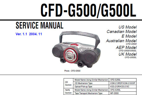 SONY CFD-G500 CFD-G500L CD RADIO CASSETTE-CORDER SERVICE MANUAL INC BLK DIAGS PCBS SCHEM DIAGS AND PARTS LIST 56 PAGES ENG