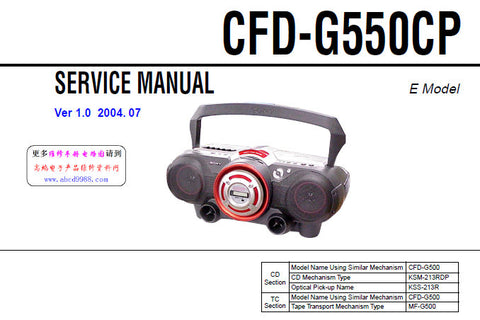 SONY CFD-G550CP CD RADIO CASSETTE-CORDER SERVICE MANUAL INC BLK DIAGS PCBS SCHEM DIAGS AND PARTS LIST 60 PAGES ENG