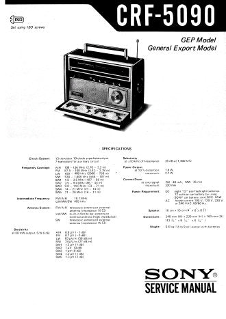 SONY CRF-5090 MULTI BAND RADIO RECEIVER SERVICE MANUAL INC BLK DIAG PCBS SCHEM DIAG AND PARTS LIST 20 PAGES ENG