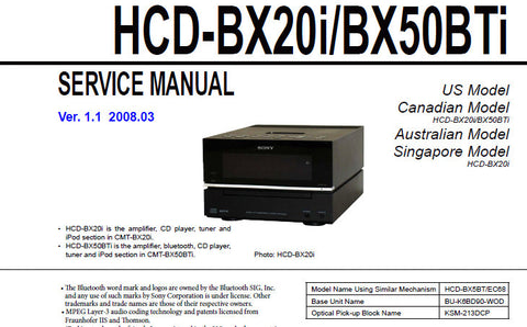 SONY HCD-BX20i HCD-BX50BTi CD RECEIVER SERVICE MANUAL INC BLK DIAGS SCHEM DIAGS PCBS AND PARTS LIST 70 PAGES ENG