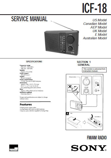 SONY ICF-18 FM AM RADIO SERVICE MANUAL INC PCB SCHEM DIAG