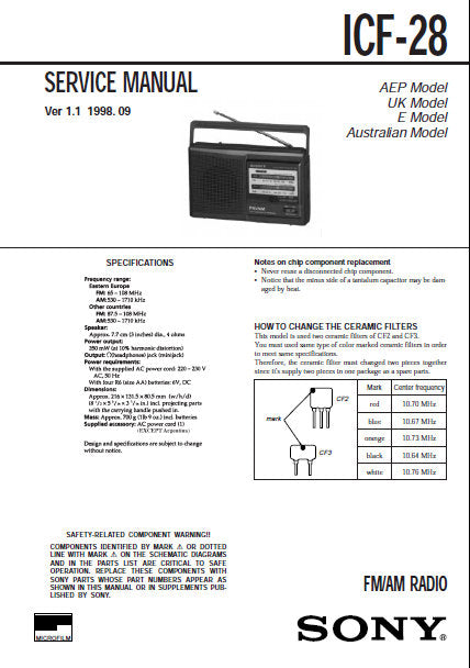 SONY ICF-28 FM AM RADIO SERVICE MANUAL INC PCB SCHEM DIAG AND PARTS LIST 8  PAGES ENG