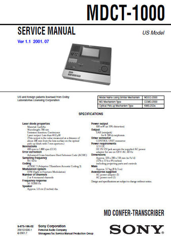 SONY MDCT-1000 MD CONFER-TRANSCORDER SERVICE MANUAL INC PCBS SCHEM DIAGS AND PARTS LIST 94 PAGES ENG