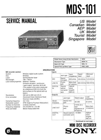 SONY MDS-101 MINI DISC RECORDER SERVICE MANUAL INC BLK DIAG PCBS SCHEM DIAGS AND PARTS LIST 80 PAGES ENG