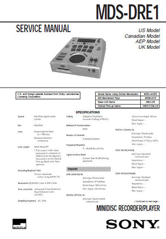 SONY MDS-DRE1 MINIDISC RECORDER SERVICE MANUAL INC BLK DIAGS PCBS SCHEM DIAGS AND PARTS LIST 77 PAGES ENG