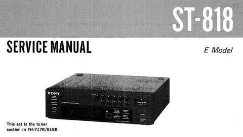 SONY ST-818 FM MW SW TIMER TUNER SERVICE MANUAL INC BLK DIAGS PCBS SCHEM DIAGS AND PARTS LIST 18 PAGES ENG