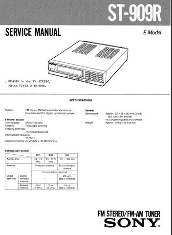 SONY ST-909R FM STEREO FM AM TUNER SERVICE MANUAL INC PCBS SCHEM DIAG AND PARTS LIST 18 PAGES ENG