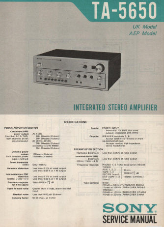 SONY TA-5650 INTEGRATED STEREO AMPLIFIER SERVICE MANUAL INC BLK DIAG PCBS SCHEM DIAGS AND PARTS LIST 17 PAGES ENG