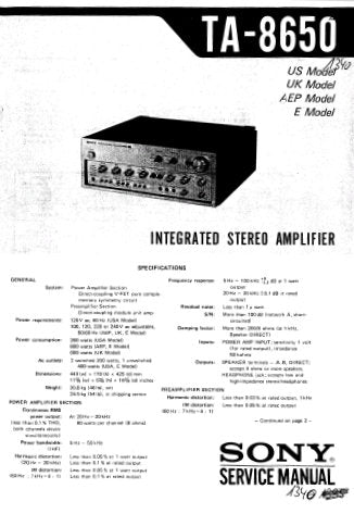 SONY TA-8650 INTEGRATED STEREO AMPLIFIER SERVICE MANUAL INC BLK DIAG PCBS SCHEM DIAG AND PARTS LIST 34 PAGES ENG