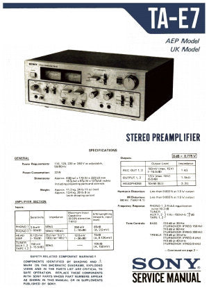 SONY TA-E7 STEREO PREAMPLIFIER SERVICE MANUAL INC BLK DIAG PCBS SCHEM DIAGS AND PARTS LIST 33 PAGES ENG