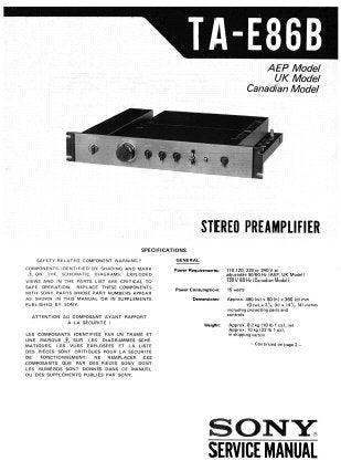 SONY TA-E86B STEREO PREAMPLIFIER SERVICE MANUAL INC BLK DIAG PCBS SCHEM DIAG AND PARTS LIST 21 PAGES ENG