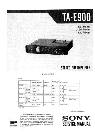 SONY TA-E900 STEREO PREAMPLIFIER SERVICE MANUAL INC BLK DIAG PCBS SCHEM DIAG AND PARTS LIST 33 PAGES ENG