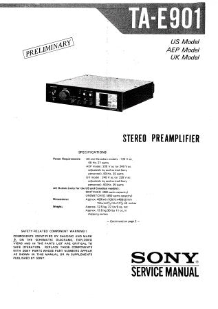 SONY TA-E901 STEREO PREAMPLIFIER SERVICE MANUAL INC PCBS SCHEM DIAG AND PARTS LIST 17 PAGES ENG