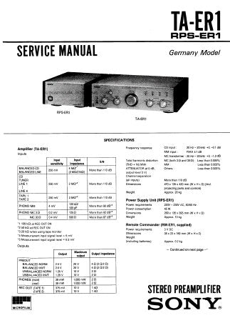 SONY TA-ER1 STEREO PREAMPLIFIER SERVICE MANUAL INC BLK DIAGS PCBS SCHEM DIAGS AND PARTS LIST 60 PAGES ENG