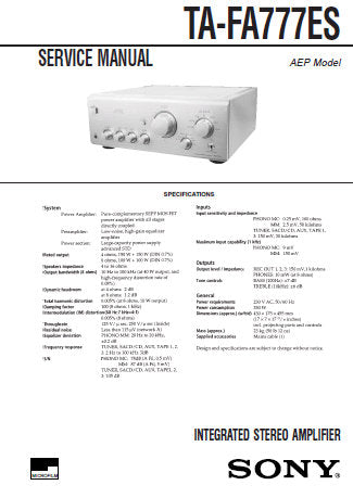 SONY TA-FA777ES INTEGRATED STEREO AMPLIFIER SERVICE MANUAL INC PCBS SCHEM  DIAGS AND PARTS LIST 24 PAGES ENG