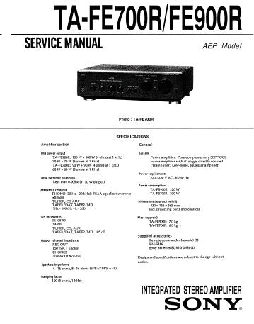 SONY TA-FE700R TA-FE900R INTEGRATED STEREO AMPLIFIER SERVICE MANUAL INC PCBS SCHEM DIAGS AND PARTS LIST 21 PAGES ENG