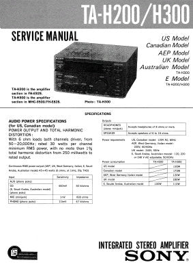 SONY TA-H200 TA-H300 INTEGRATED STEREO AMPLIFIER SERVICE MANUAL INC PCBS SCHEM DIAGS AND PARTS LIST 19 PAGES ENG
