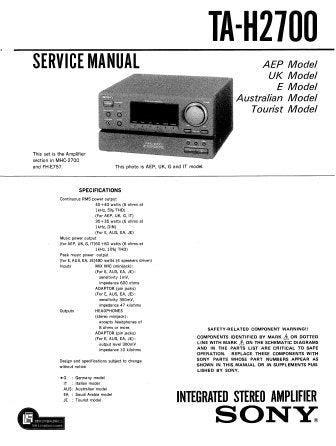 SONY TA-H2700 INTEGRATED STEREO AMPLIFIER SERVICE MANUAL INC PCBS SCHEM DIAGS AND PARTS LIST 29 PAGES ENG