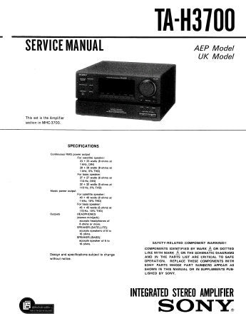 SONY TA-H3700 INTEGRATED STEREO AMPLIFIER SERVICE MANUAL INC PCBS SCHEM DIAGS AND PARTS LIST 33 PAGES ENG