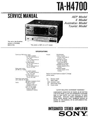 SONY TA-H4700 INTEGRATED STEREO AMPLIFIER SERVICE MANUAL INC PCBS SCHEM DIAGS AND PARTS LIST 29 PAGES ENG