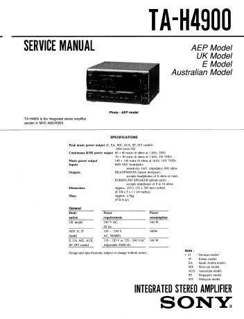 SONY TA-H4900 INTEGRATED STEREO AMPLIFIER SERVICE MANUAL INC BLK DIAG PCBS SCHEM DIAG AND PARTS LIST 18 PAGES ENG