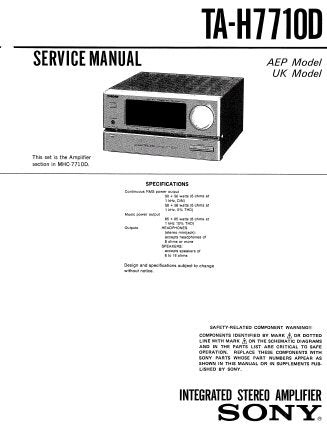 SONY TA-H7710D INTEGRATED STEREO AMPLIFIER SERVICE MANUAL INC PCBS SCHEM DIAGS AND PARTS LIST 27 PAGES ENG