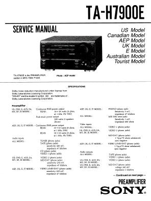 SONY TA-H7900E PREAMPLIFIER SERVICE MANUAL INC BLK DIAG PCBS SCHEM DIAGS AND PARTS LIST 39 PAGES ENG