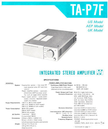 SONY TA-P7F INTEGRATED STEREO AMPLIFIER SERVICE MANUAL INC BLK DIAG PCBS SCHEM DIAGS AND PARTS LIST 25 PAGES ENG