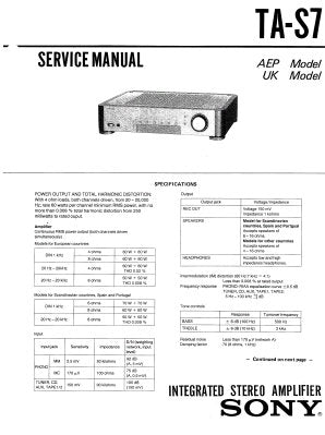 SONY TA-S7 INTEGRATED STEREO AMPLIFIER SERVICE MANUAL INC BLK DIAG PCBS SCHEM DIAG AND PARTS LIST 26 PAGES ENG