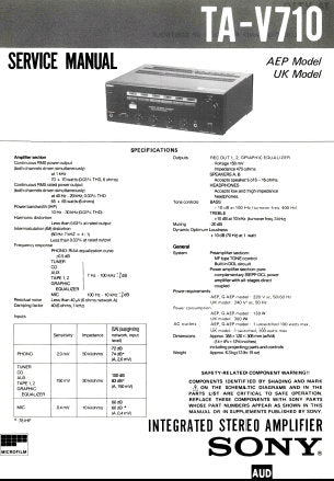 SONY TA-V710 INTEGRATED STEREO AMPLIFIER SERVICE MANUAL INC PCBS SCHEM DIAG AND PARTS LIST 16 PAGES ENG