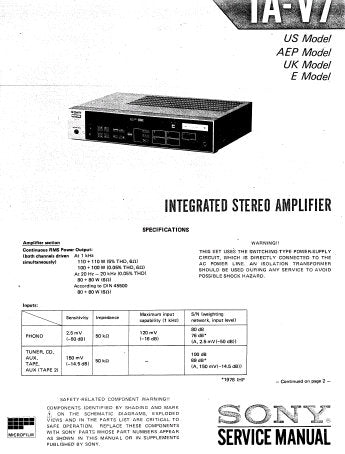 SONY TA-V7 INTEGRATED STEREO AMPLIFIER SERVICE MANUAL INC BLK DIAG PCBS SCHEM DIAGS AND PARTS LIST 19 PAGES ENG