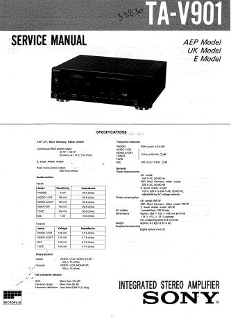 SONY TA-V901 INTEGRATED STEREO AMPLIFIER SERVICE MANUAL INC PCBS SCHEM DIAGS AND PARTS LIST 17 PAGES ENG