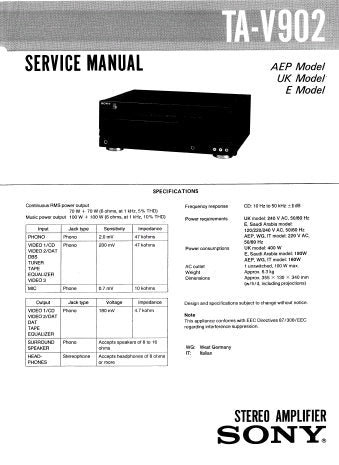 SONY TA-V3 INTEGRATED STEREO AMPLIFIER SERVICE MANUAL INC BLK DIAG PCBS SCHEM DIAG AND PARTS LIST 10 PAGES ENG