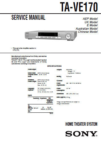 SONY TA-VE170 HOME THEATER SYSTEM SERVICE MANUAL INC BLK DIAG PCBS SCHEM DIAGS AND PARTS LIST 24 PAGES ENG