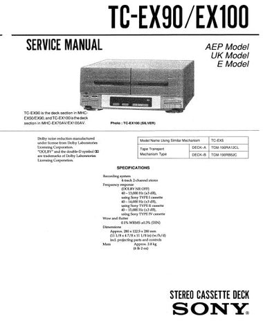 SONY TC-EX90 STEREO CASSETTE TAPE DECK SERVICE MANUAL INC PCBS SCHEM DIAGS AND PARTS LIST 27 PAGES ENG