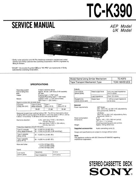 SONY TC-K390 STEREO CASSETTE TAPE DECK SERVICE MANUAL INC