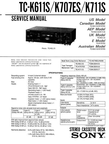 SONY TC-K555ES STEREO CASSETTE TAPE DECK SERVICE MANUAL