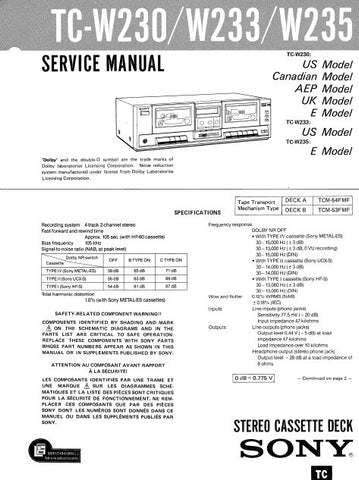 SONY TC-U5 STEREO CASSETTE TAPE DECK SERVICE MANUAL INC