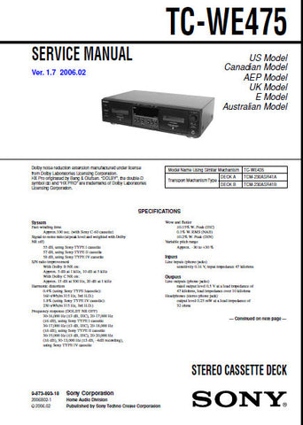 SONY TC-WE475 STEREO CASSETTE TAPE DECK SERVICE MANUAL VER 1.7 INC PCBS SCHEM DIAGS AND PARTS LIST 66 PAGES ENG