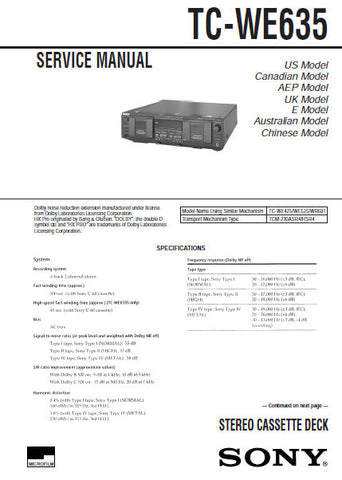 SONY TC-WE635 STEREO CASSETTE TAPE DECK SERVICE MANUAL INC PCBS SCHEM DIAGS AND PARTS LIST 41 PAGES ENG