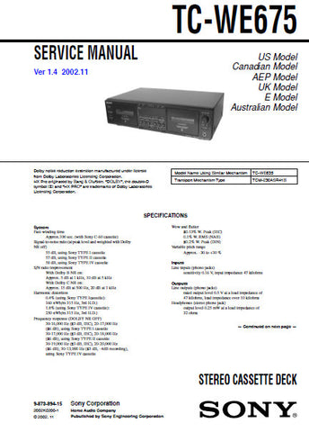 SONY TC-WE675 STEREO CASSETTE TAPE DECK SERVICE MANUAL VER 1.4 INC PCBS SCHEM DIAGS AND PARTS LIST 51 PAGES ENG
