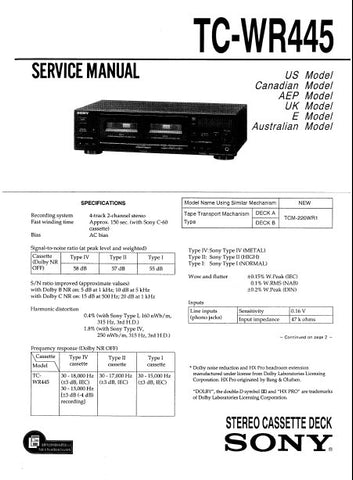 SONY TC-WR445 STEREO CASSETTE TAPE DECK SERVICE MANUAL INC BLK DIAG PCBS SCHEM DIAGS AND PARTS LIST 32 PAGES ENG