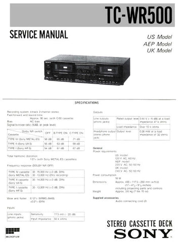 SONY TC-WR500 STEREO CASSETTE TAPE DECK SERVICE MANUAL INC PCBS SCHEM DIAG AND PARTS LIST 13 PAGES ENG