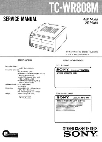 SONY TC-WR808M STEREO CASSETTE TAPE DECK SERVICE MANUAL INC PCBS SCHEM DIAG AND PARTS LIST 20 PAGES ENG