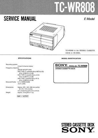 SONY TC-WR808 STEREO CASSETTE TAPE DECK SERVICE MANUAL INC PCBS SCHEM DIAGS AND PARTS LIST 20 PAGES ENG